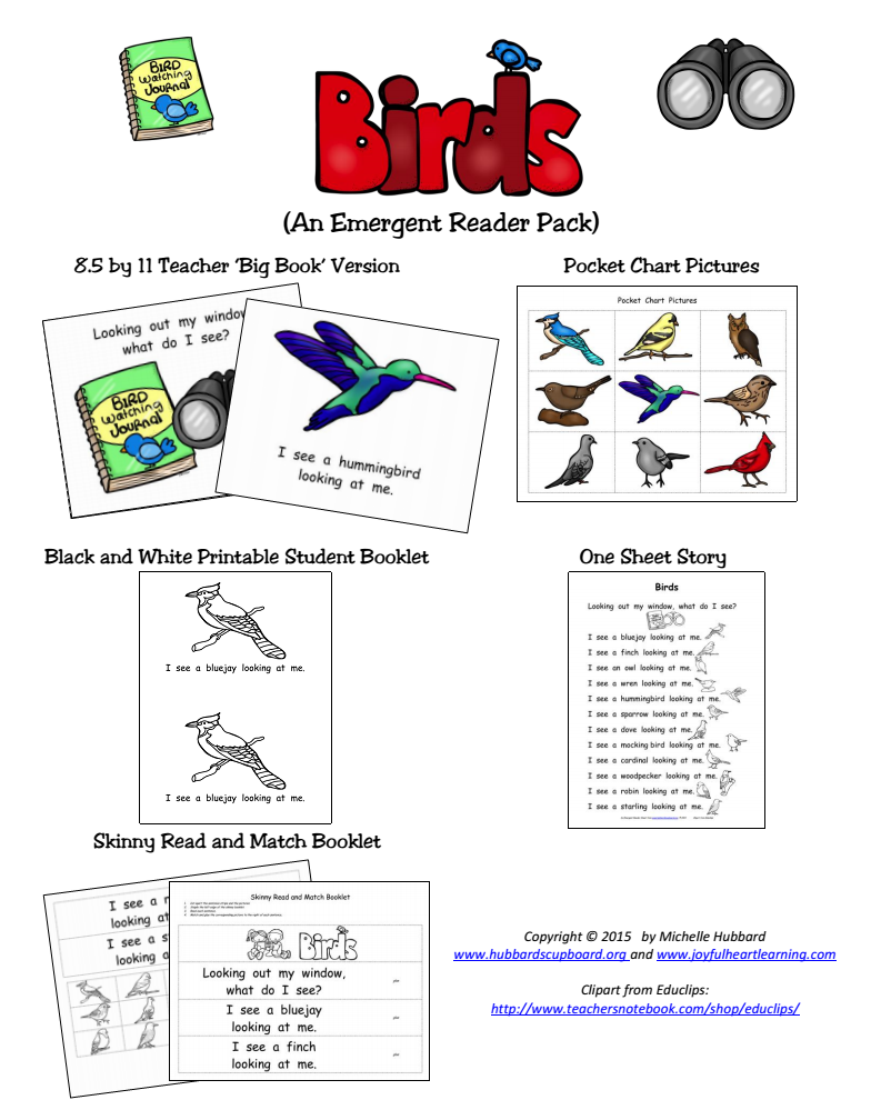 Birds Emergent Reader Packet