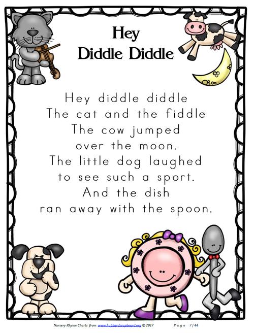 Nursery Rhyme Charts Cover Chart Sample