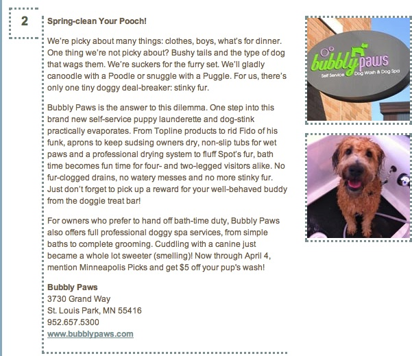 Minneapolis picks bubbly paws dog wash and grooming twin bubbly paws dog wash and dog spa was just featured on the minneapolis picks website and you can read the article below solutioingenieria Images