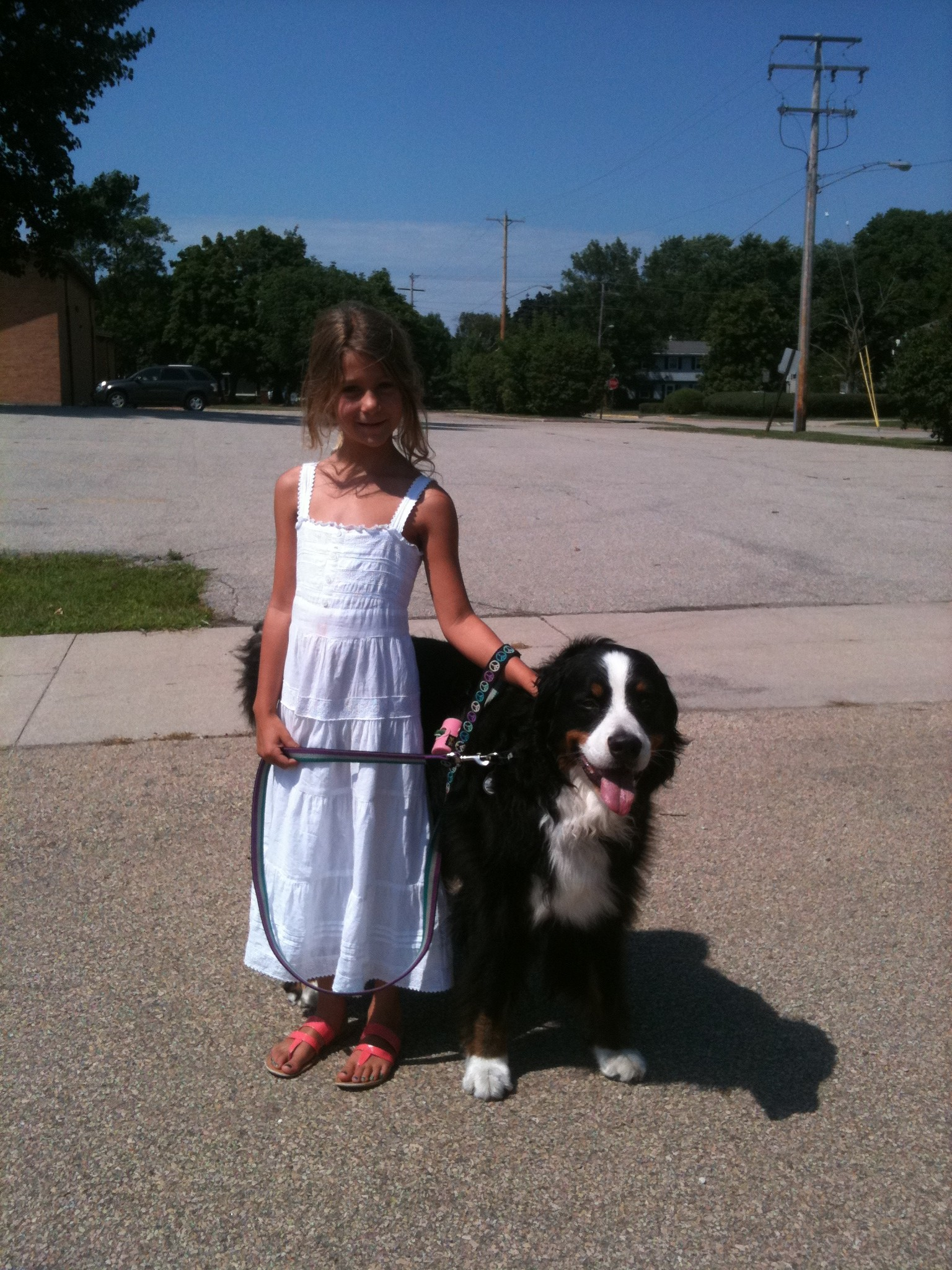 Ava takes Roxy for a walk in Wisconsin.