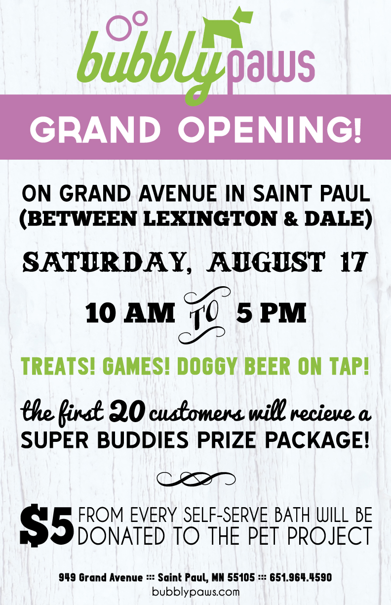 Bubbly Paws Dog Wash and Spa in Saint Paul, MInnesota grand opening