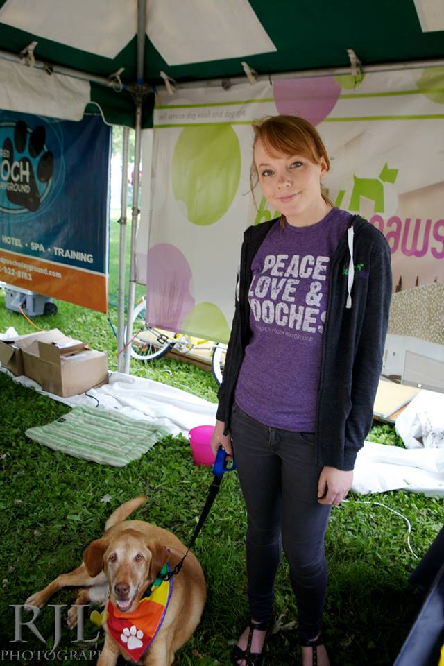 Franklin and I at the Pride festival representing Bubbly Paws.