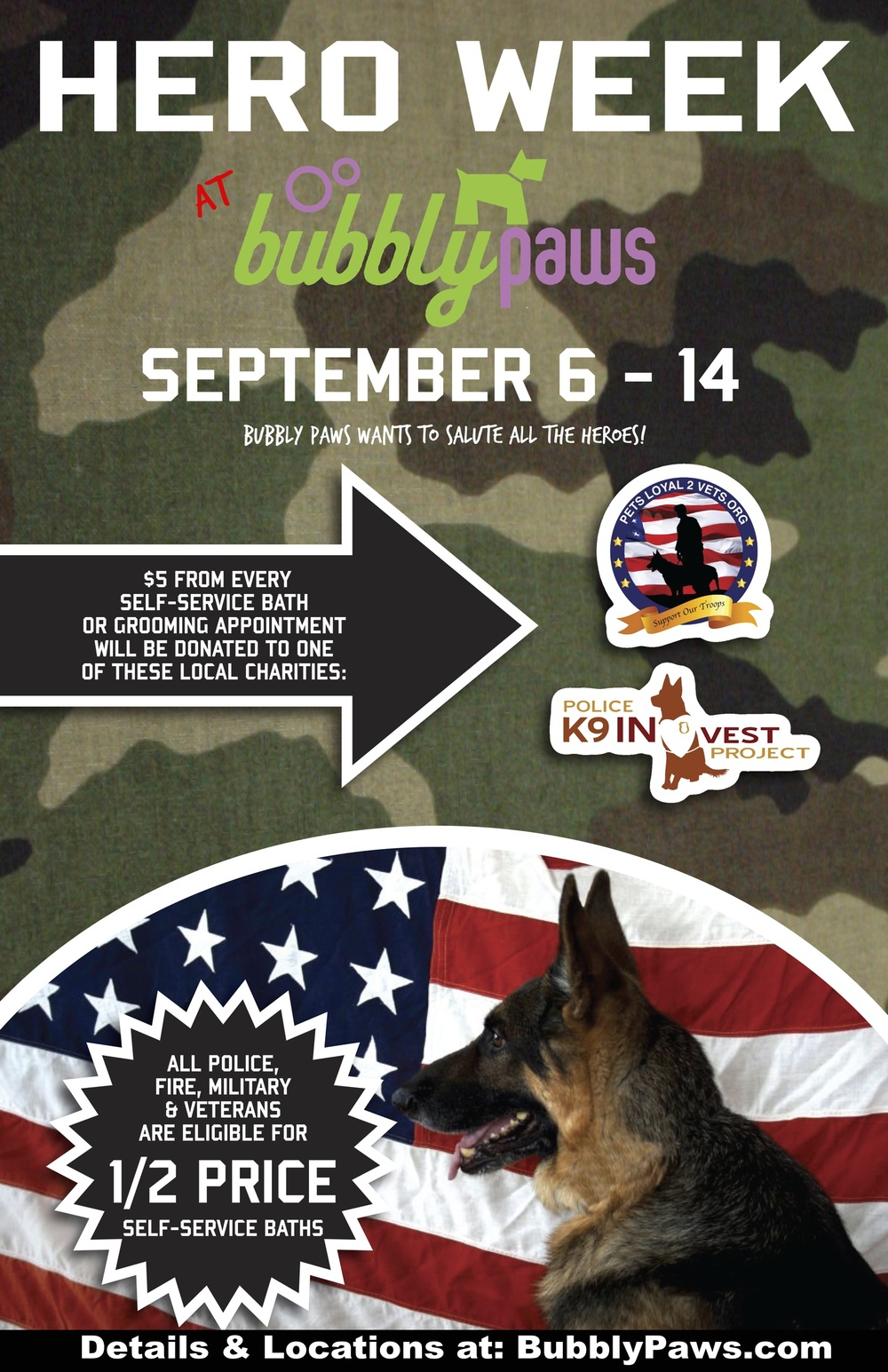 Hero Week at Bubbly Paws