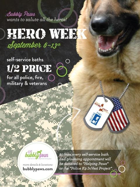 Hero Week at Bubbly Paws Dog Wash