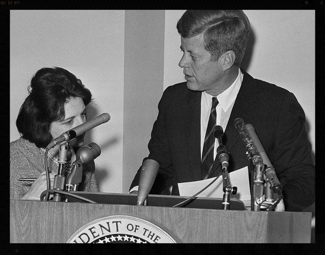 Reporter Helen Thomas with President John F. Kennedy.