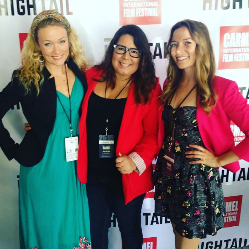 Nicole Starrett, Mariangela Pagan, and Colleen Boag the red carpet at Carmel Film Festival.
