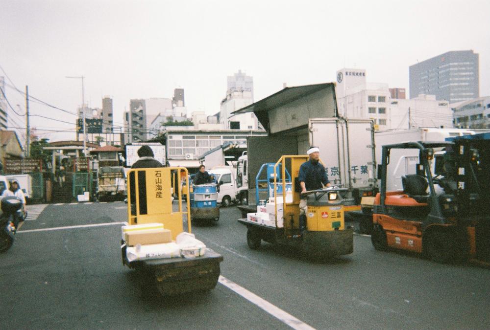 Tsukiji Fish Market in the morning.