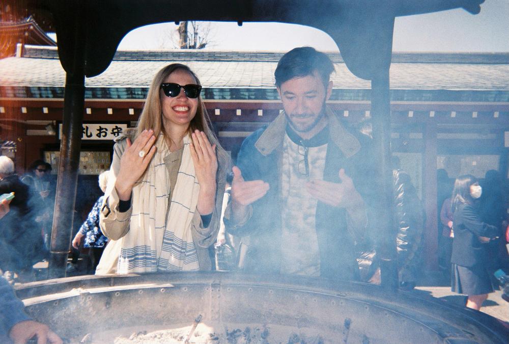 Rebecca and Lon, SAD Mag's first designer, in Asakusa