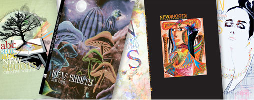Cover art for past editions of New Shoots by: 2005-2006 - Jennifer Sarkar; 2006-2007 - Louisa Tsui; 2008-09 – Oscar Kwong; 2009-10 – Kimberly Chan; 2010-11 - Naomi Sonobe