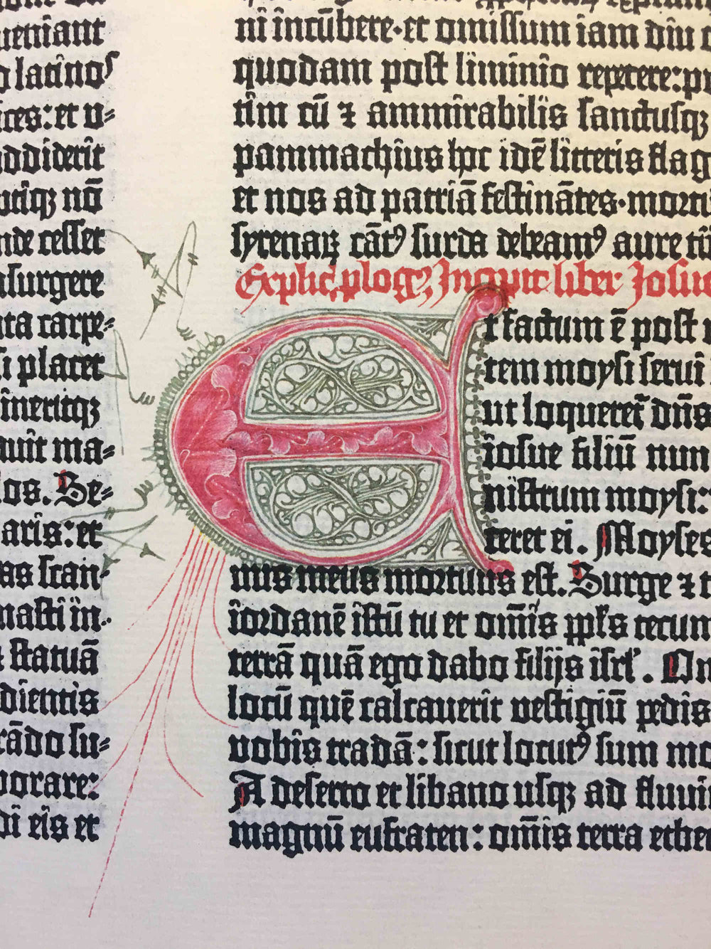 A photo of one of the illuminated dropcaps in the Gutenberg bible facsimile.  Matilde  and I went through the volume, and there are a lot less than I expected from other photos I've seen (something I suppose I'm perpetuating by showing this rather than a page of type alone)