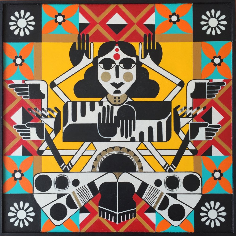 Anamika Devi, acrylic on wood panel, 2016