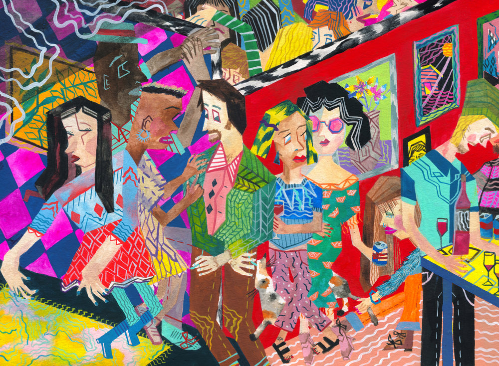 Priscilla Yu, Dance Party, 2017, Gouache on watercolor paper