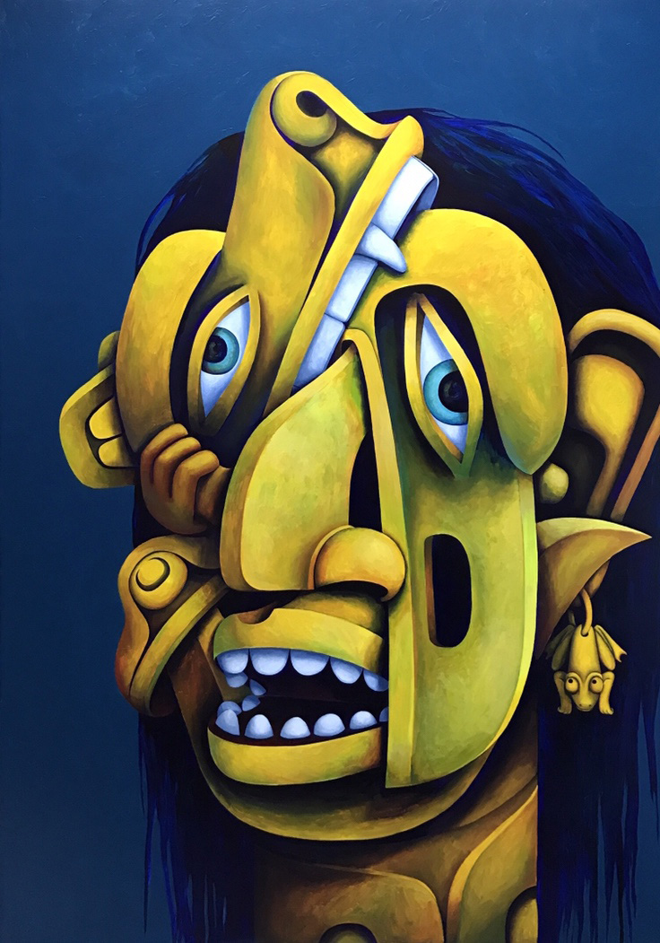 Artwork: Totem Talking/Bear Raven Mask Face ,Shawn Hunt, 2017 (acrylic on canvas)