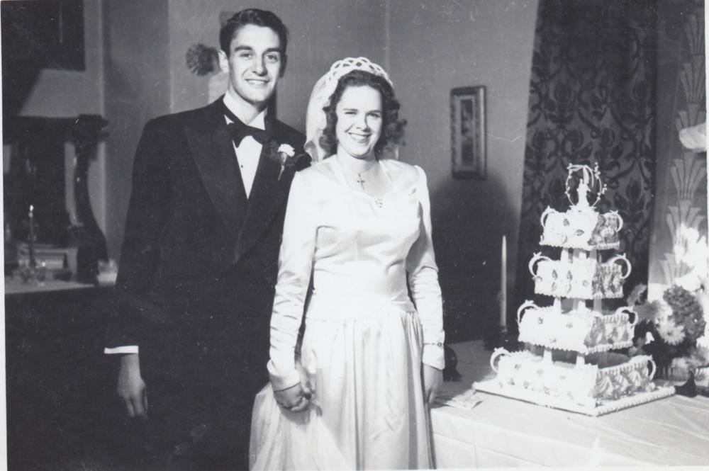 Esther and Rene Castellani at their wedding, 1946. Photo via EveLazarus.com