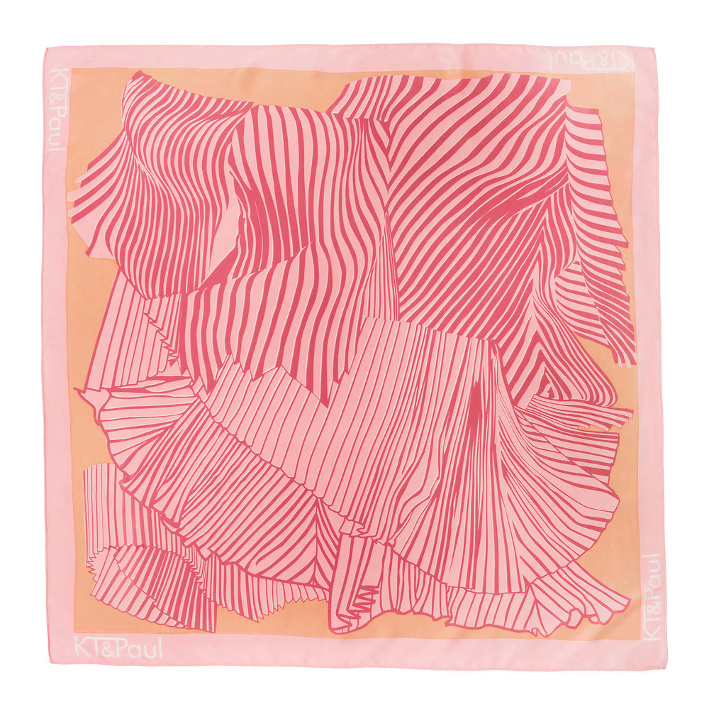 Pink Pleats Hand screen printed silk charmeuse scarf edition of 6 90cm X 90cm