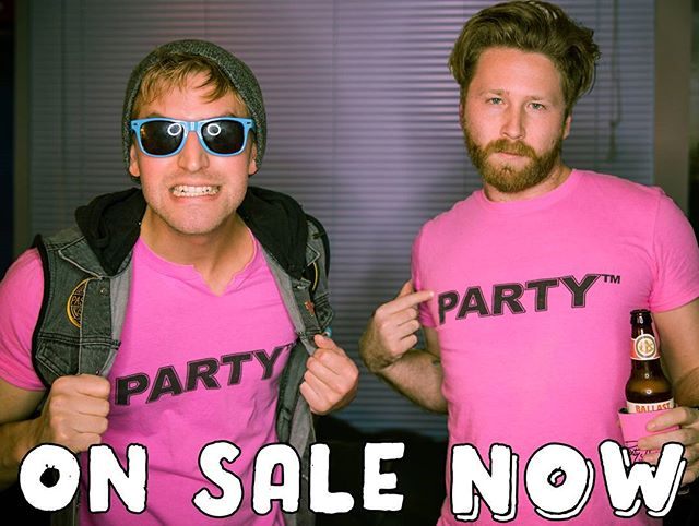 OUR MERCH PAGE IS UP!! We have approx ONE rad design available for ya -- PARTY™, the hottest hot pink shirt around  Link on our homepage - pick one up and support the dudes 👕🕶🤙