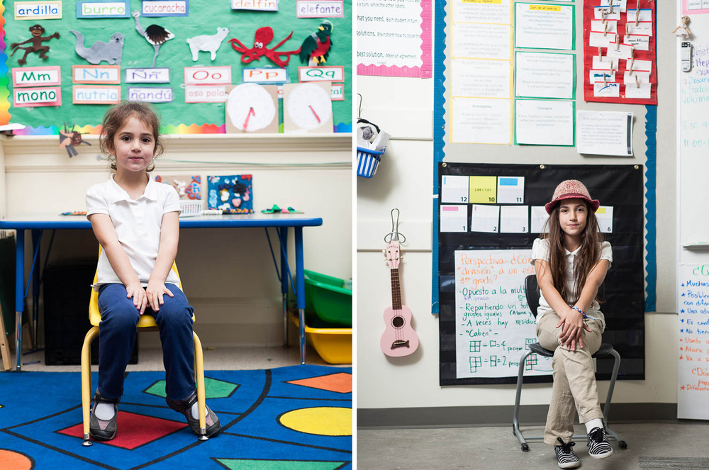 A group of children in Oakland, California photographed five years apart — at the beginning and end of elementary school.