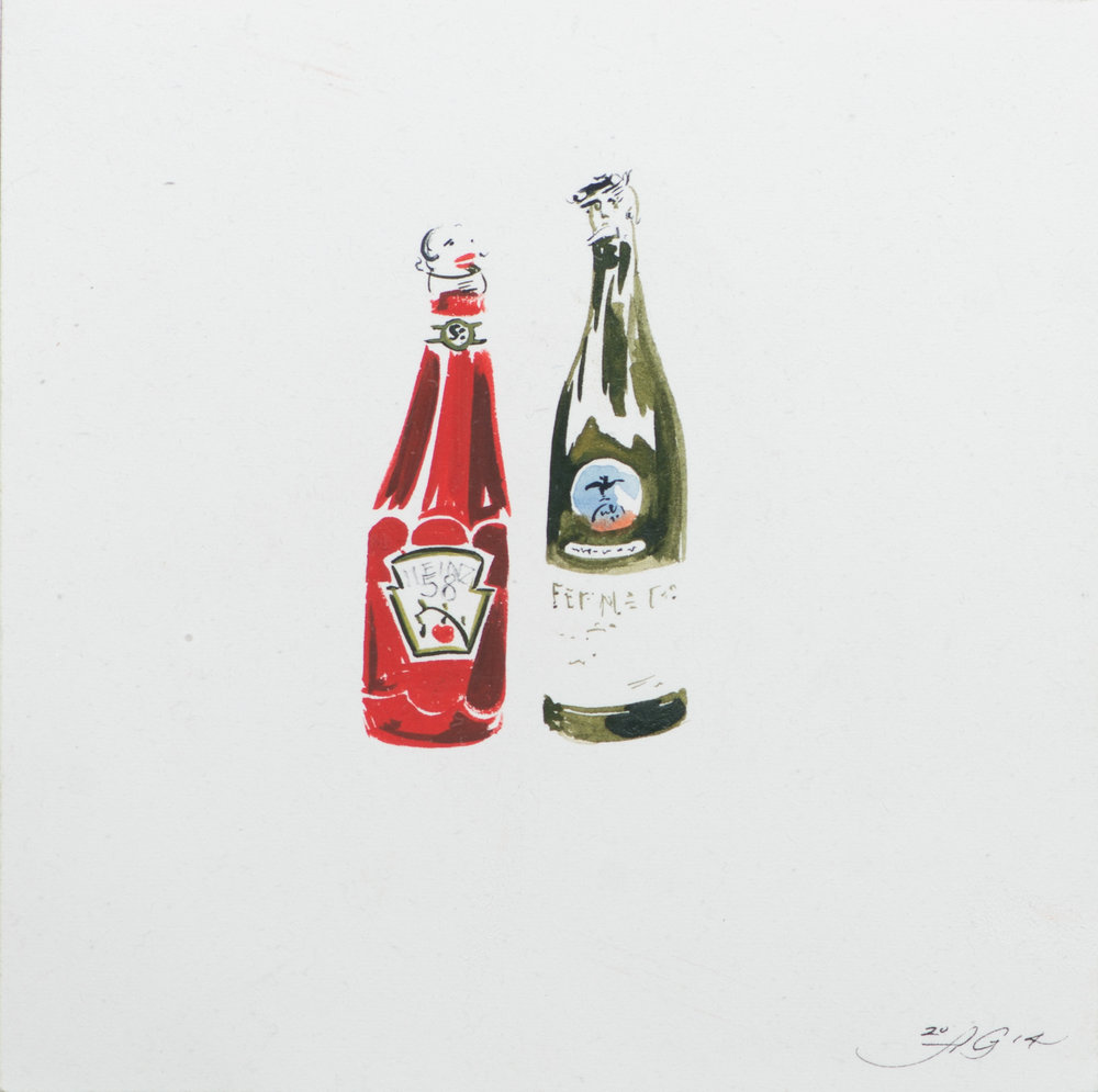 Fernet Me Not , 2014 Gouache and ink on paper 8 1/2 x 8 1/2 inches