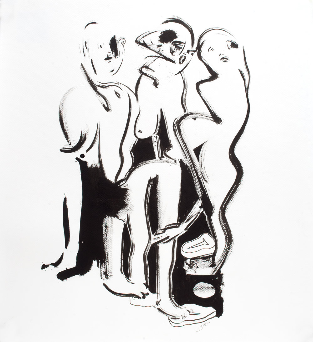 Three Graces , 2013 Ink on paper 22 x 21 inches
