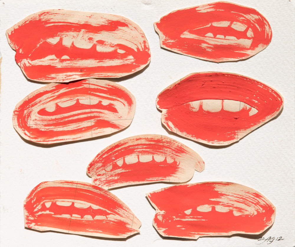 Loose Lips , 2012 Ink and collage on paper 5 x 6 inches