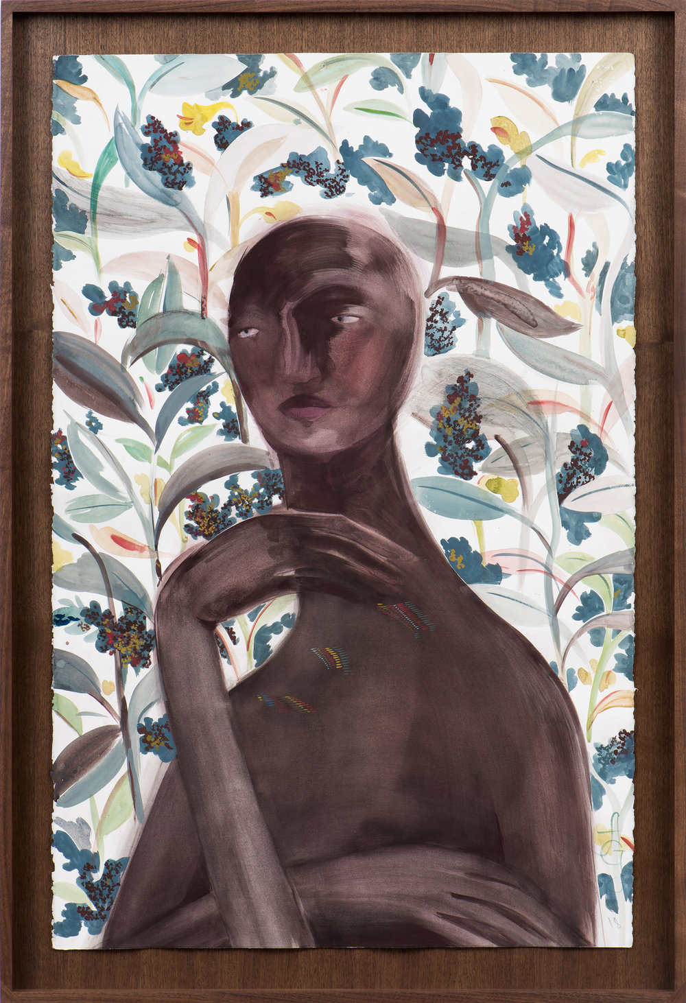 Abel , 2018 Gouache and watercolor on paper 40 x 26 1/2 inches