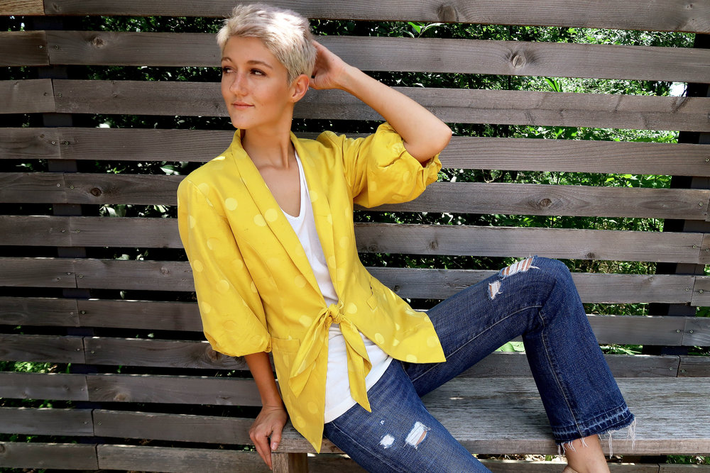 Pieceology-Vintage-1980s-Yellow-Polka-Dot-Raw-Silk-Puff-Sleeve-Light-Jacket-4.jpg