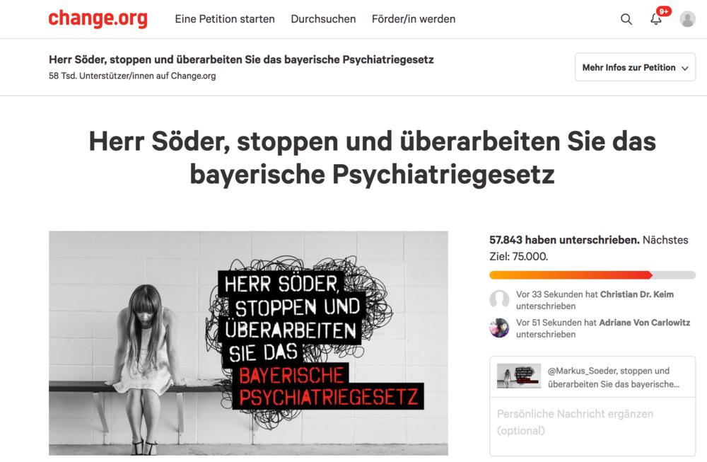 """Seitenansicht der Petition auf der Plattform """"change.org"""""""