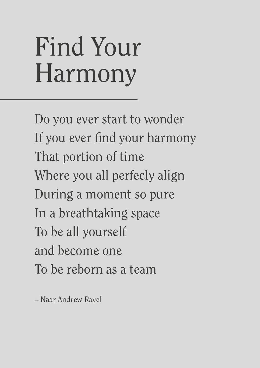 Find your harmony is een workshop waar de interne groeps-communicatie versterkt wordt aan de hand van een interactief luistermodel op basis van klassieke muziek. -