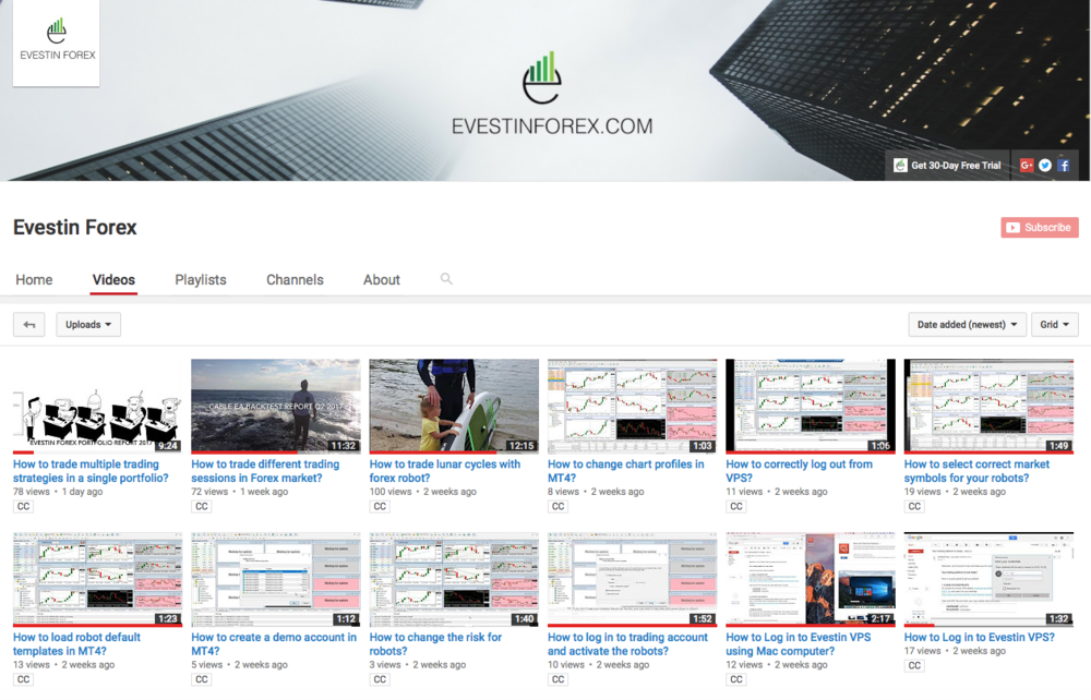 Evestin Forex youtube channel