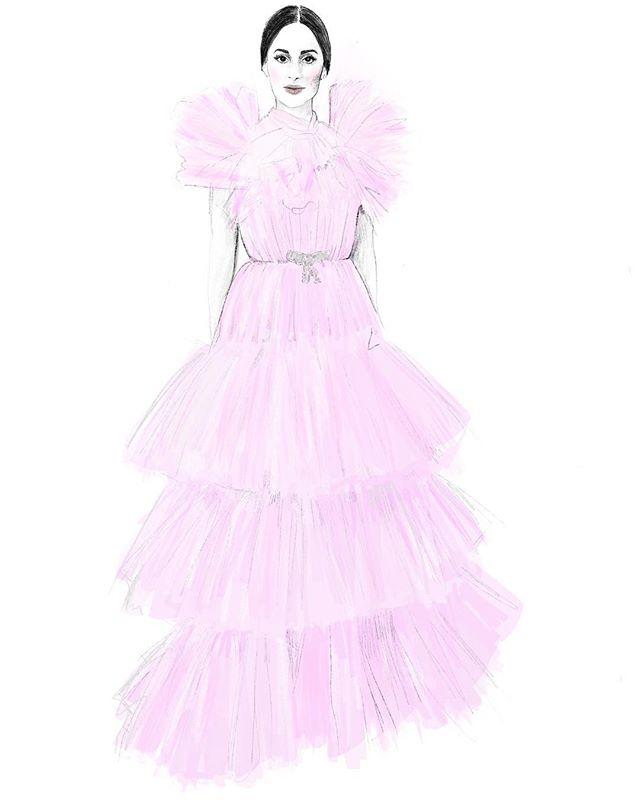 My #orcars2019  favourite dress by #gianbattistavalli ,worn by lovelly #kaceymusgraves #fashionillustration #fashionillustor #illustrator #oscarsfashion #applepencil #ipadproart #procreate