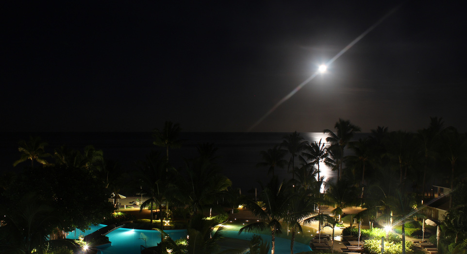 Moon in the sky at Sugar Beach Resort & Spa