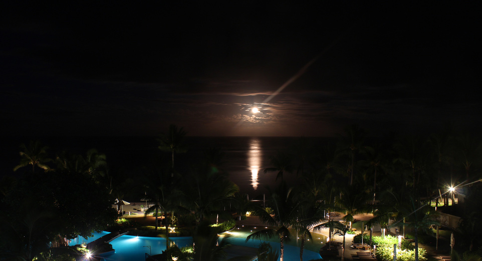 Moonset at Sugar Beach Resort & Spa