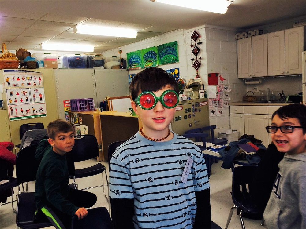 The kids were able to try on goggles that mimic a bee's eyesight!