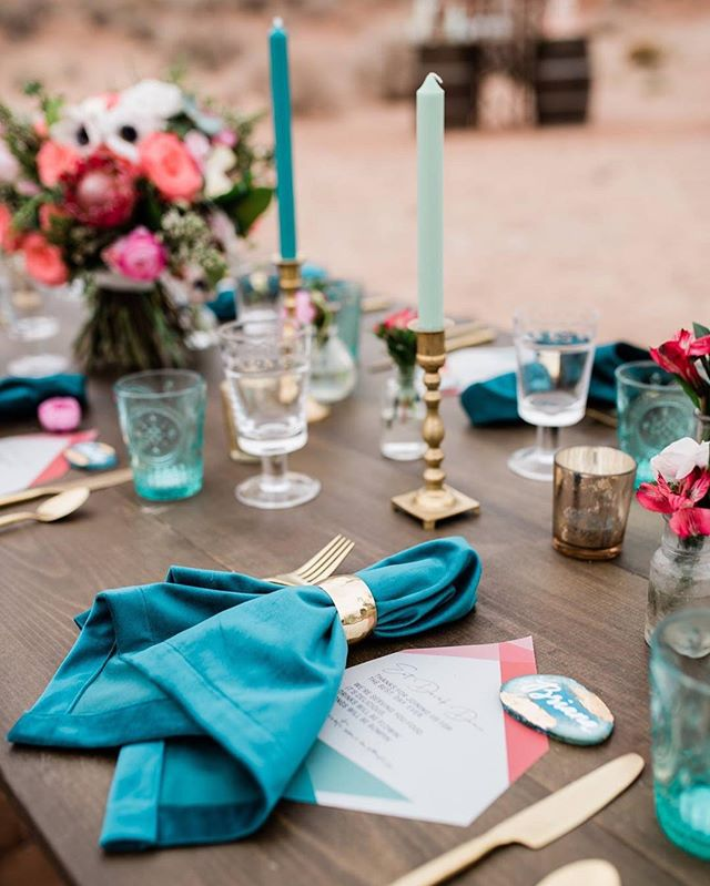 About a month ago, we had an idea to do a photo shoot with bright pops of color, teal accents, and some geometric and desert vibes. We rounded up an amazing vendor team, and we're ecstatic with the outcome! 😍 Thank you all for helping to bring this vision to life!  Photos: @briananicolephoto Planning: @justlovelyweddings  Rentals & Styling: @darlingdetailsrentals Florals: @abeautifultheme Cake: @sweetgracecakeco Stationery: @funkyolivedesign Hair & Makeup: @ginasfancyfaces Jewelry: @oohaahjewelry  Dress: @bridalelegancenm Suit: Ted Baker  Models: @jennaalexandra8