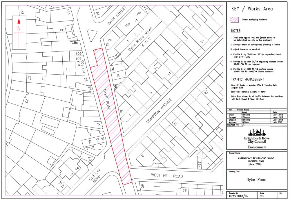 Forthcoming Carriageway Resurfacing Works - Dyke Road