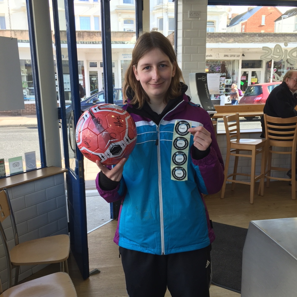 Rosey is the delighted winner of the Exeter City signed ball.