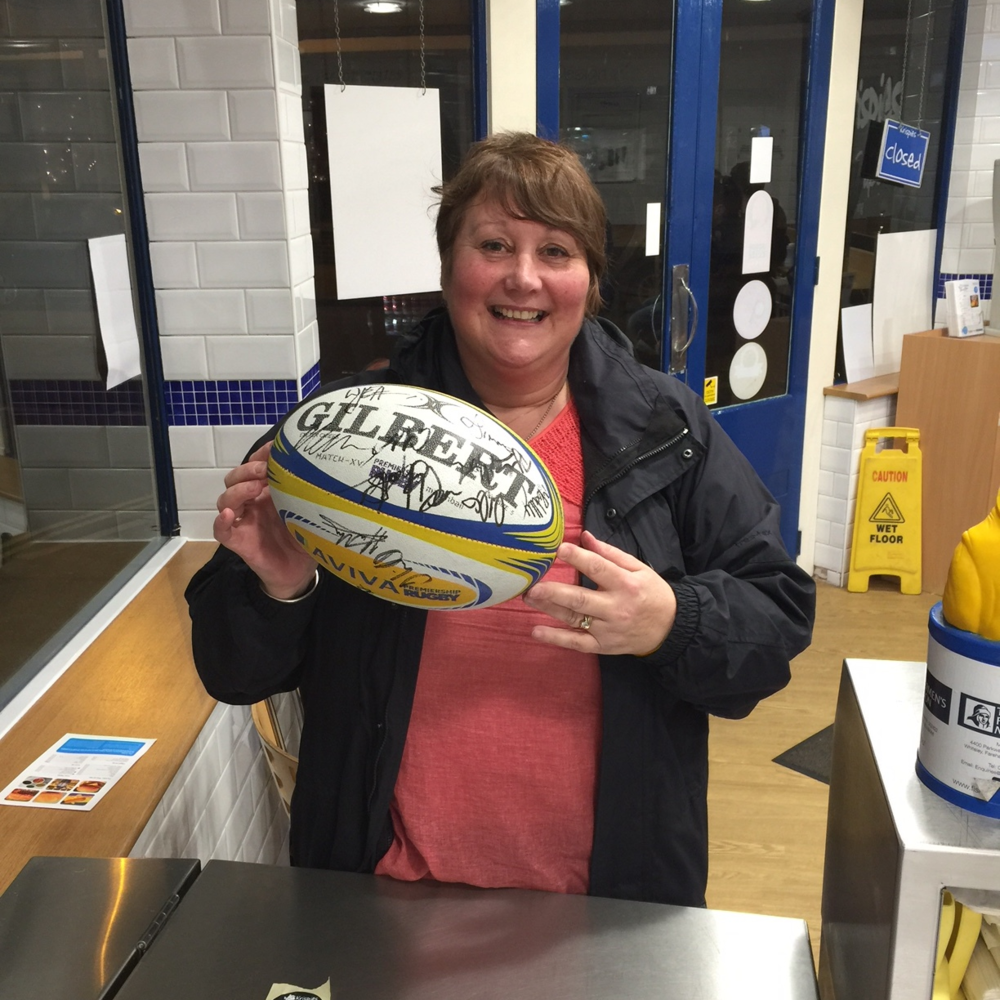 Another Happy Winner with the Exeter Chiefs signed ball.