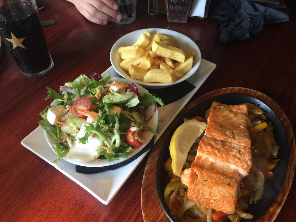and this lovely sizzling salmon from Papa's in Hull.