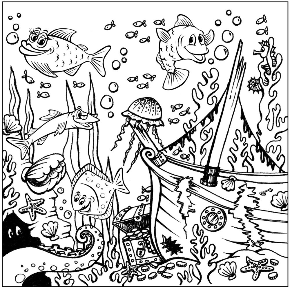 Deep Sea Scene - Click on the picture to print out and colour it in