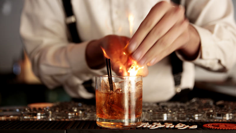 Flamed Old Fashioned Cocktail