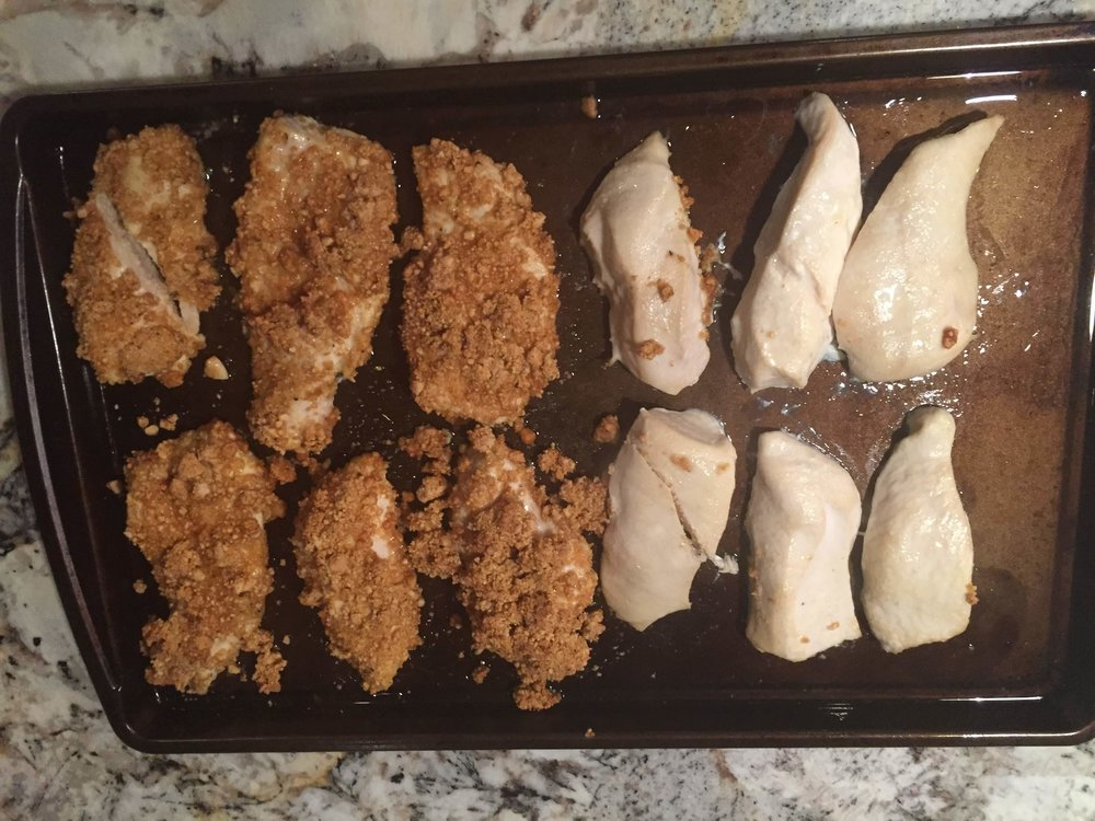 Cashew-crusted and some plain chicken
