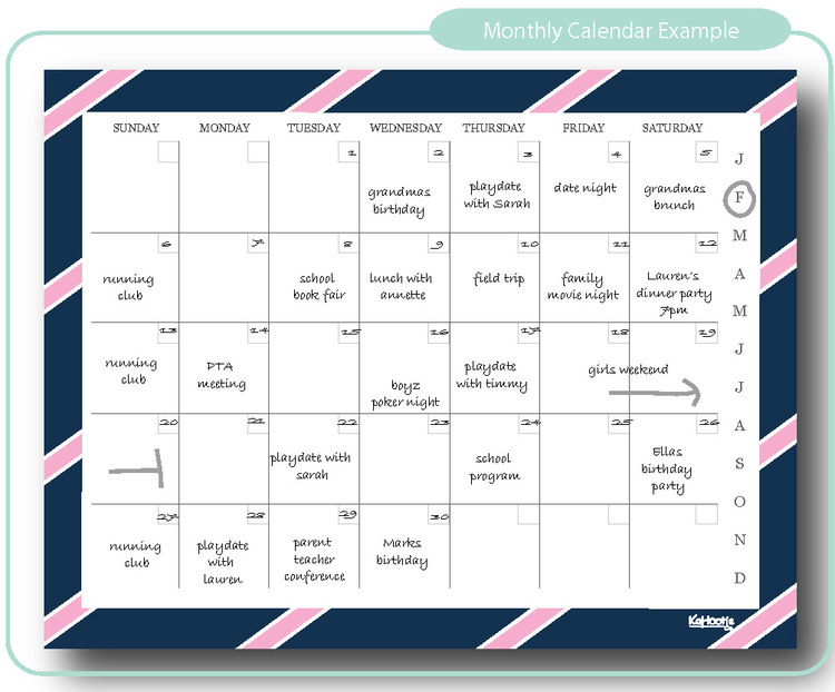 Monthly Calendar Navy  Pink Stripe