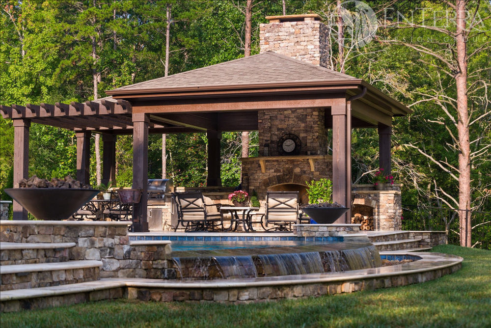 Vanishing Edge Pool, Cabana, Fireplace & Outdoor Kitchen