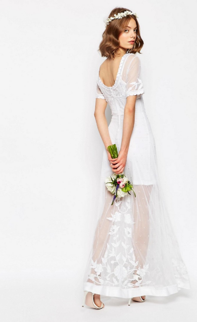 Asos Bridal Delicate Lace and Pearl Maxi Dress £250.