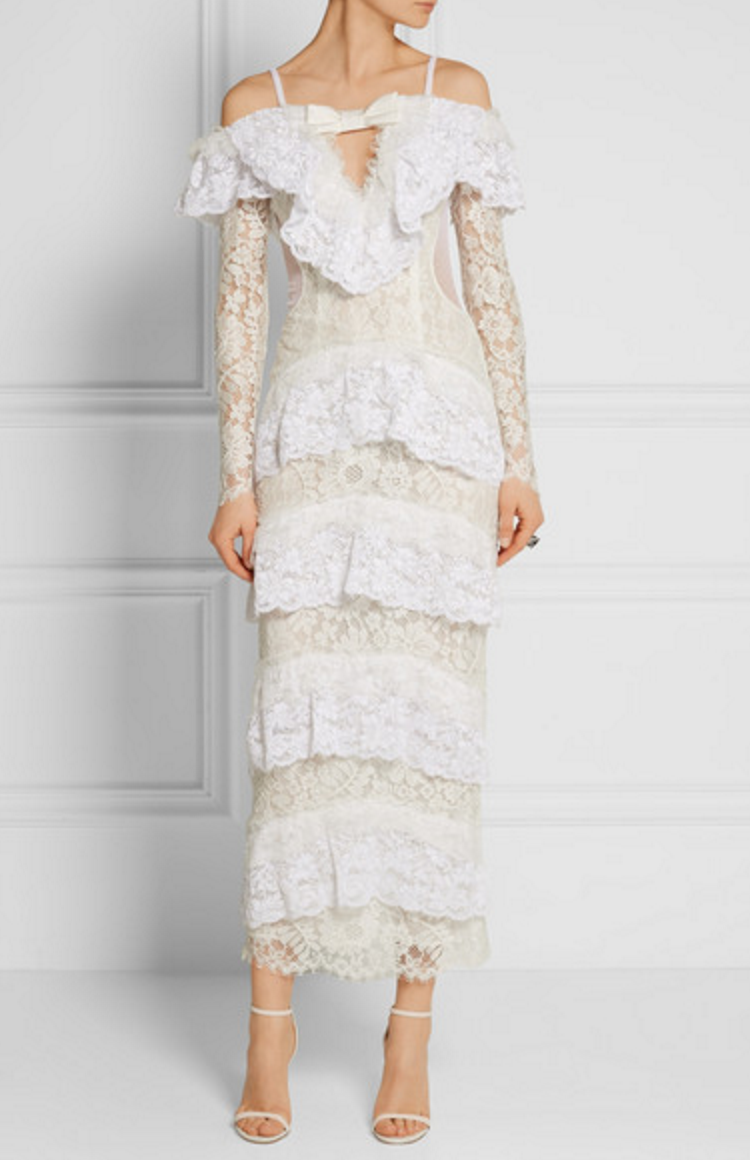 Alessandra Rich Tiered Lace Gown £1640