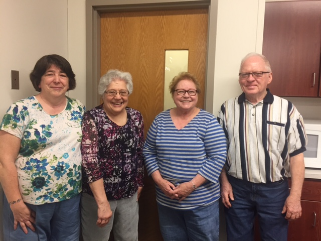 Our Officers ( From left to right ): Mary Kleinman (Vice President), Elaine Adams (Secretary), Connie Martin (President), Dan Owens (Treasurer)