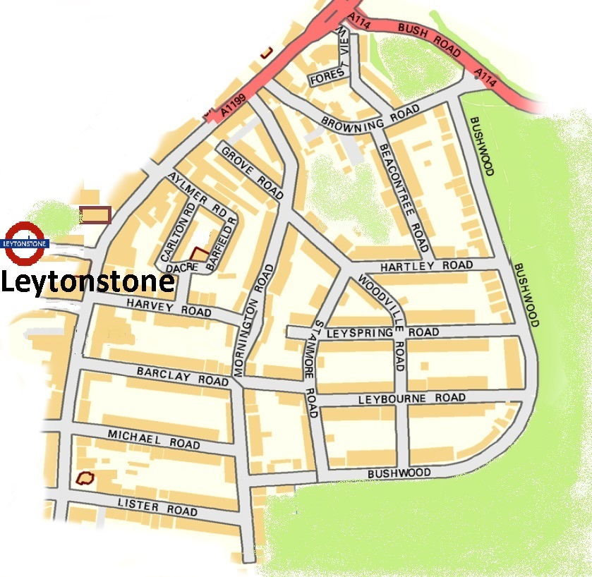 Map Of The Bushwood Area of Leytonstone