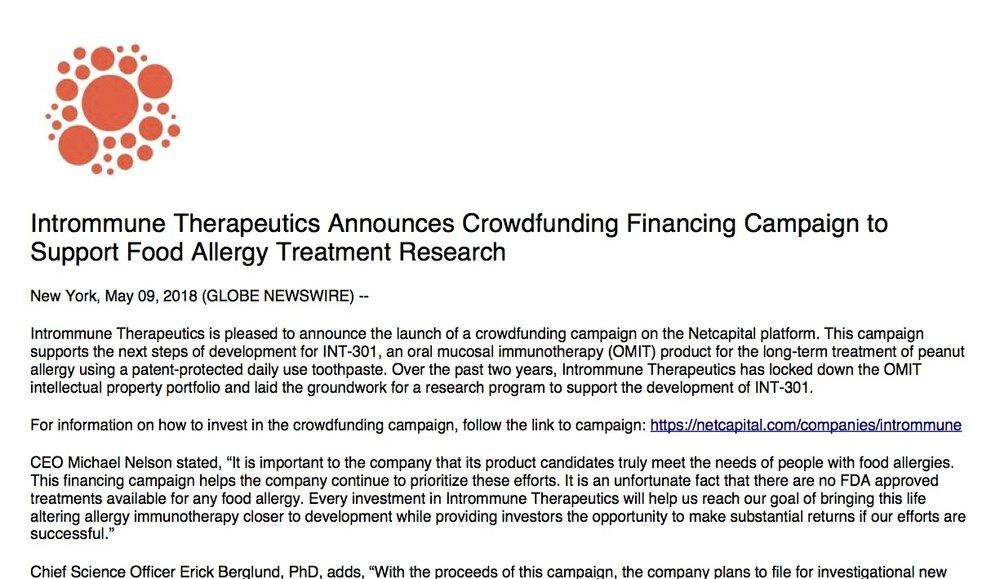 Intrommune Crowdfunding PR