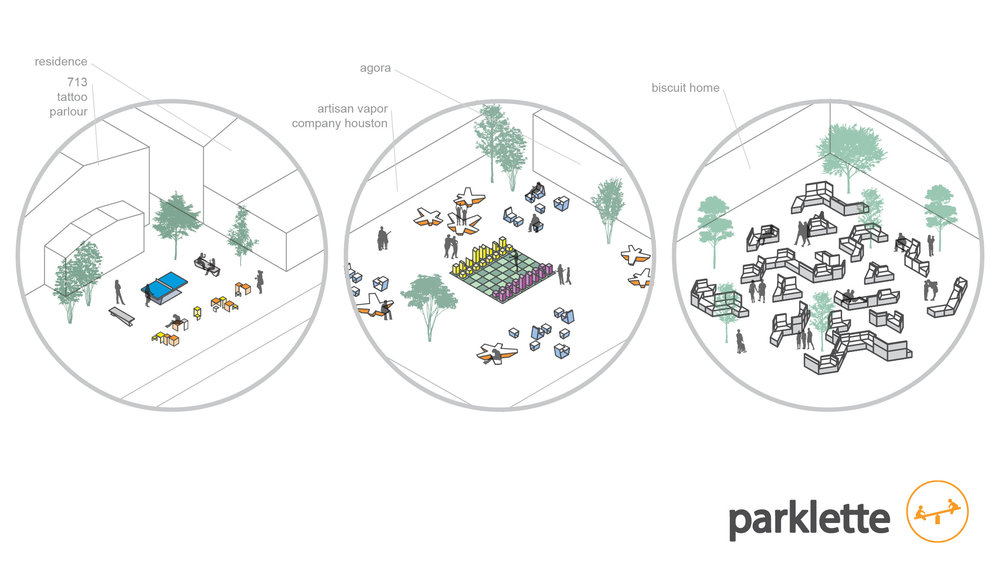 pockets of spaces behind buildings create common areas shared by multiple businesses, creating a community-like sanctuary