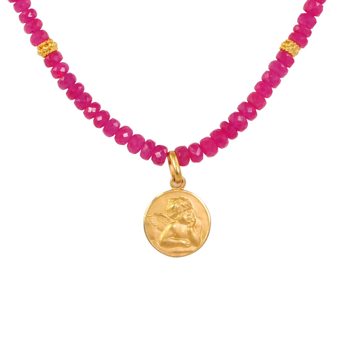 Ruby with Gold Cupid Pendant